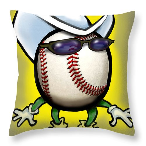 Baseball Throw Pillow featuring the greeting card Baseball Cowboy by Kevin Middleton
