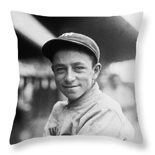 1 Person Throw Pillow featuring the photograph Baseball Mascot Eddie Bennett by Underwood Archives
