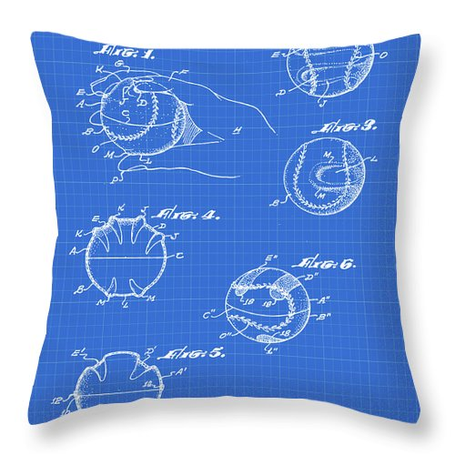 Baseball Throw Pillow featuring the photograph Baseball Training Device Patent 1961 Blueprint by Bill Cannon