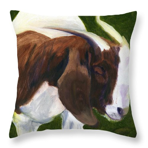 Goat Throw Pillow featuring the painting Bashful by Gloria Condon