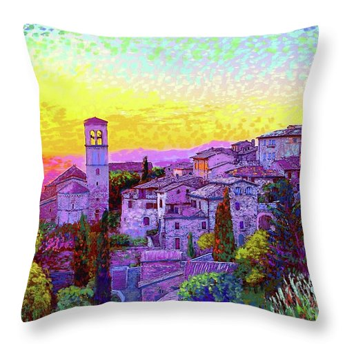 Italy Throw Pillow featuring the painting Basilica of St. Francis of Assisi by Jane Small