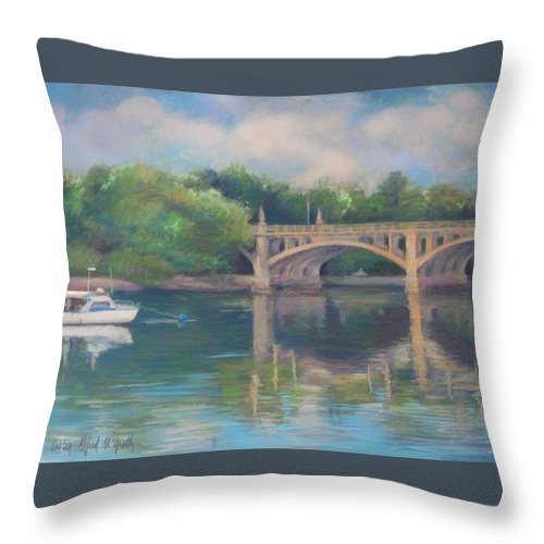 Mcgrath Throw Pillow featuring the painting Basiliere Bridge Haverhill Ma by Leslie Alfred McGrath