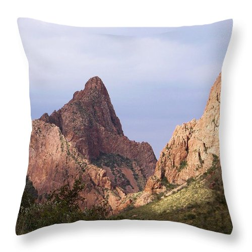 Big Bend Texas Throw Pillow featuring the photograph Basin View Big Bend Texas by Mona Davis