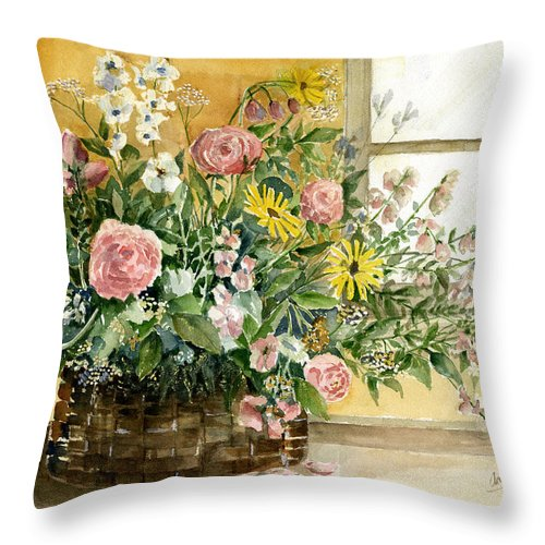 Basket Throw Pillow featuring the painting Basket Bouquet by Suzanne Blender