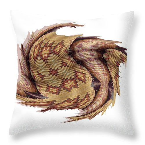 Basket Throw Pillow featuring the digital art Basket Entering Black Hole by Ron Bissett