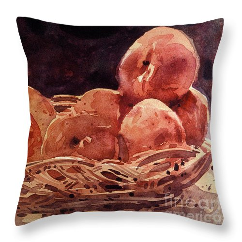 Peaches Throw Pillow featuring the painting Basket Of Peaches by Donald Maier