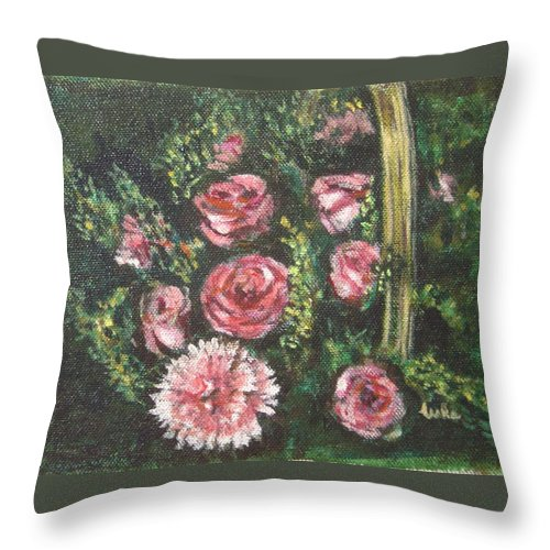 Basket Throw Pillow featuring the painting Basket Of Pink Flowers by Usha Shantharam