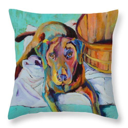 Chocolate Lab Throw Pillow featuring the painting Basket Retriever by Pat Saunders-White