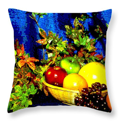 Fruit Throw Pillow featuring the photograph Basket With Fruit by Nancy Mueller