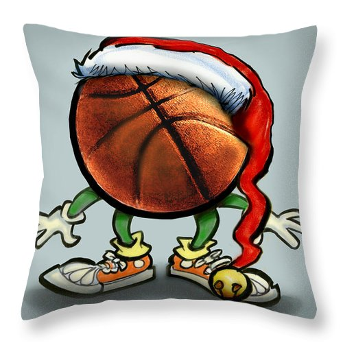 Basketball Throw Pillow featuring the greeting card Basketball Christmas by Kevin Middleton
