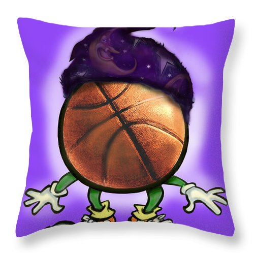 Basketball Throw Pillow featuring the greeting card Basketball Wizard by Kevin Middleton