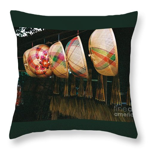 Baskets Throw Pillow featuring the photograph Baskets And Brooms by Mary Rogers
