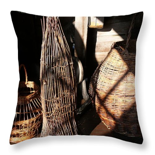 Basket Throw Pillow featuring the photograph Baskets by Mark Grayden