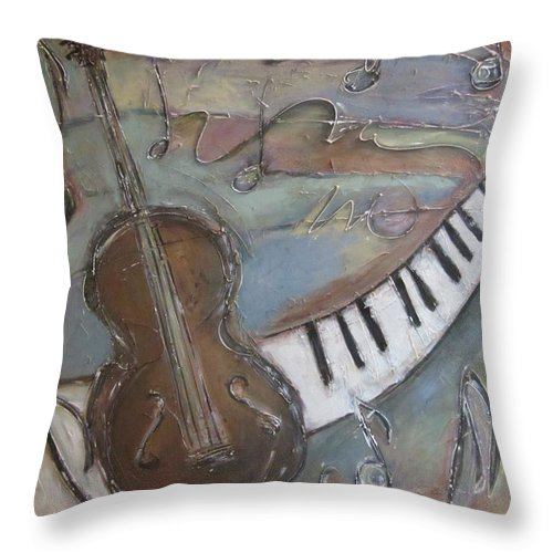 Painting Throw Pillow featuring the painting Bass And Keys by Anita Burgermeister