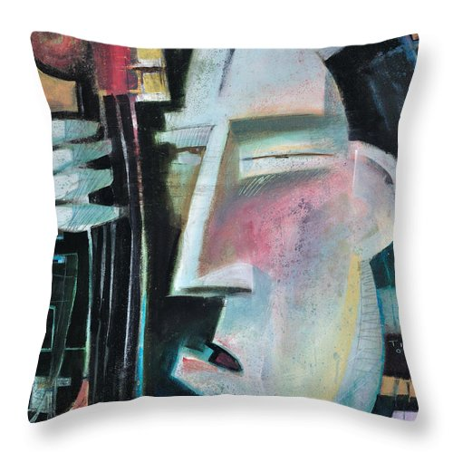 Jazz Throw Pillow featuring the painting Bass Face by Tim Nyberg