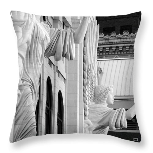 Bass Hall Throw Pillow featuring the photograph Bass Hall Fort Worth 520 Bw V4 by Rospotte Photography