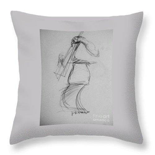 Bass Throw Pillow featuring the drawing Bass Man by Jamey Balester