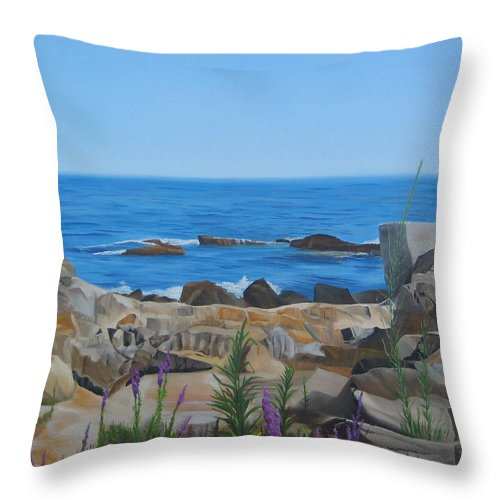 Seascape Throw Pillow featuring the painting Bass Rocks Gloucester by Lea Novak