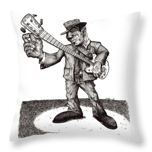 Blues Throw Pillow featuring the drawing Bass by Tobey Anderson