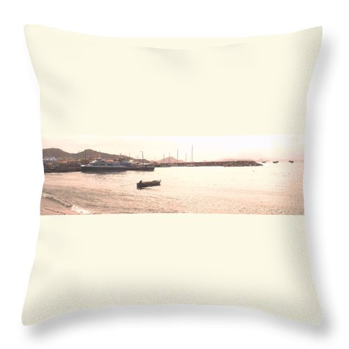 St Kitts Throw Pillow featuring the photograph Basseterre Harbour by Ian MacDonald