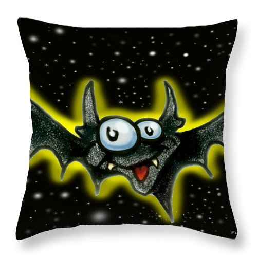 Bat Throw Pillow featuring the greeting card Bat by Kevin Middleton