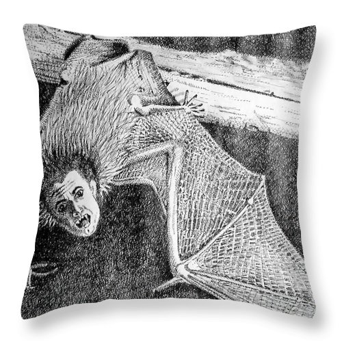 Bat Throw Pillow featuring the drawing Bat Man by Arline Wagner