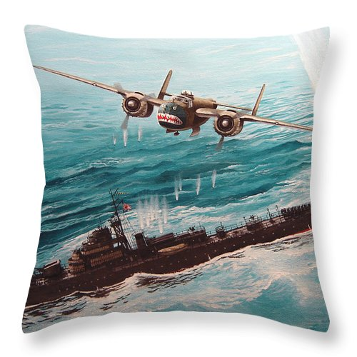 Military Throw Pillow featuring the painting Bat Outta Hell by Marc Stewart