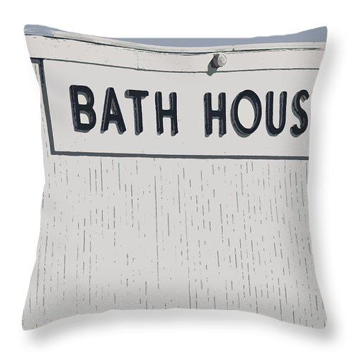 Architecture Throw Pillow featuring the photograph Bath House by Mary Haber