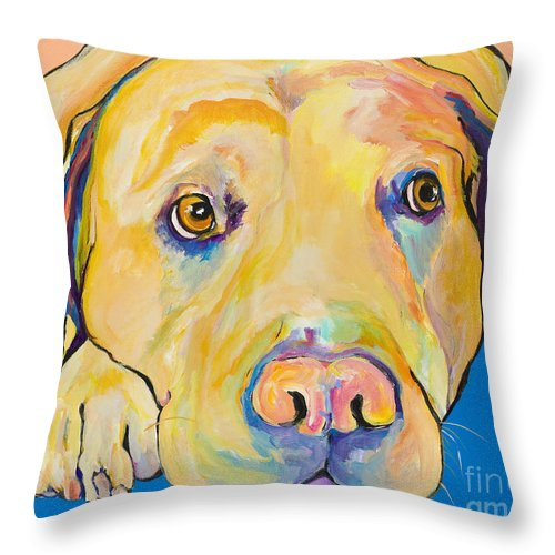 Dog Paintings Yellow Lab Puppy Colorful Animals Pets Throw Pillow featuring the painting Bath Time by Pat Saunders-White