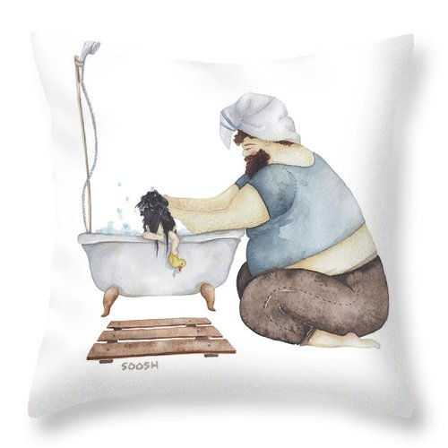 Illustration Throw Pillow featuring the drawing Bath Time by Soosh