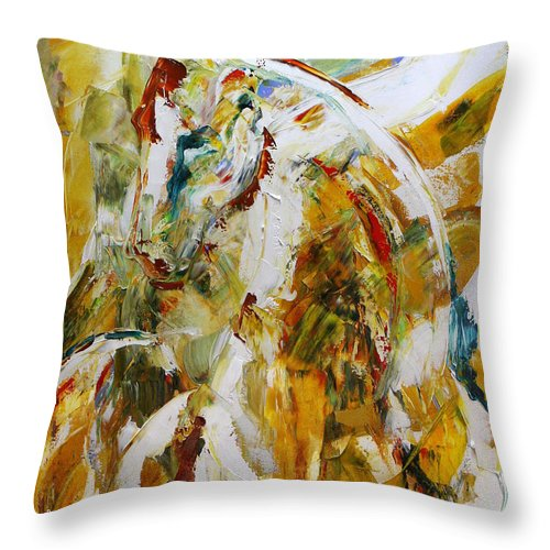Horse Paintings Throw Pillow featuring the painting Bathed In Gold by Laurie Pace