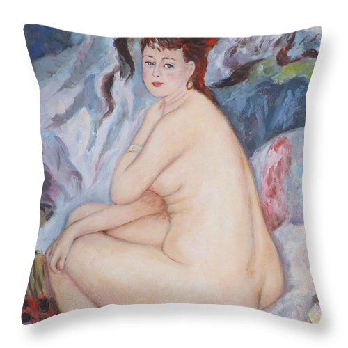 Portrait Throw Pillow featuring the painting Bather My Reproduction Of Renoirs Work by Ekaterina Mortensen