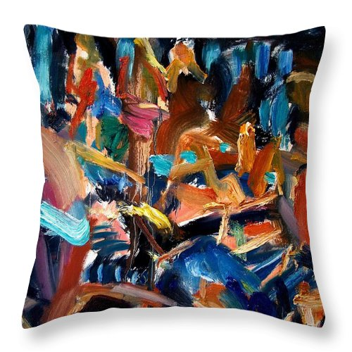 Dornberg Throw Pillow featuring the painting bathers By the Pool On Deck by Bob Dornberg