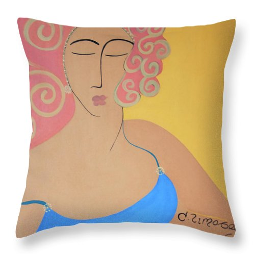 #female Throw Pillow featuring the painting Bathing Beauty by Jacquelinemari