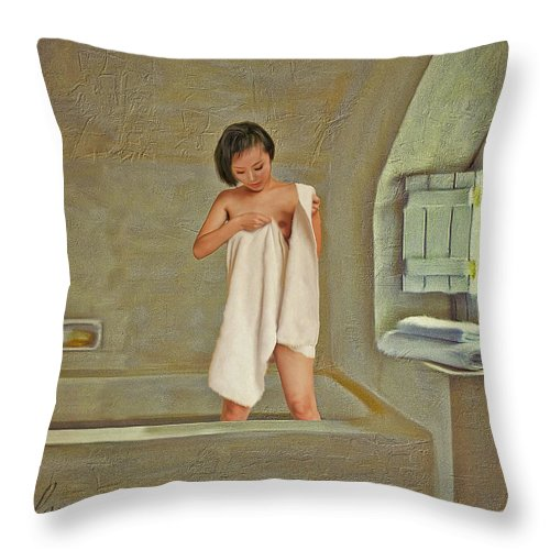 Maid Throw Pillow featuring the painting Bathing Number One by Salome Hooper