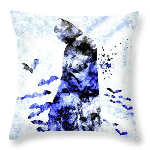 Batman Colored Grunge Throw Pillow featuring the mixed media Batman Colored Grunge by Daniel Janda