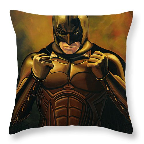 Batman Throw Pillow featuring the painting Batman The Dark Knight by Paul Meijering