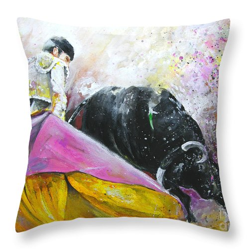 Bullfight Throw Pillow featuring the painting Battle Joined by Miki De Goodaboom