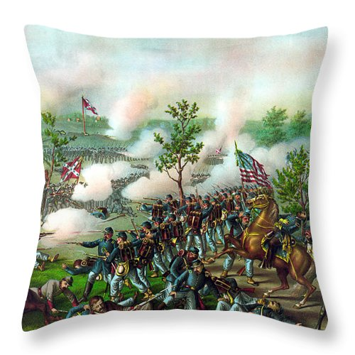 Battle Of Atlanta Throw Pillow featuring the painting Battle Of Atlanta by War Is Hell Store