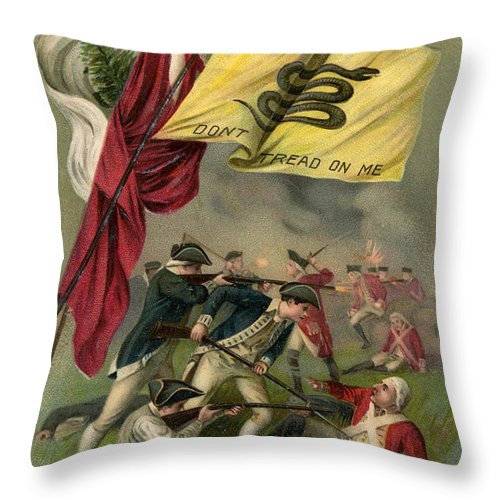 Battle Of Bunker Hill With Gadsden Flag Throw Pillow featuring the drawing Battle Of Bunker Hill With Gadsden Flag by American School