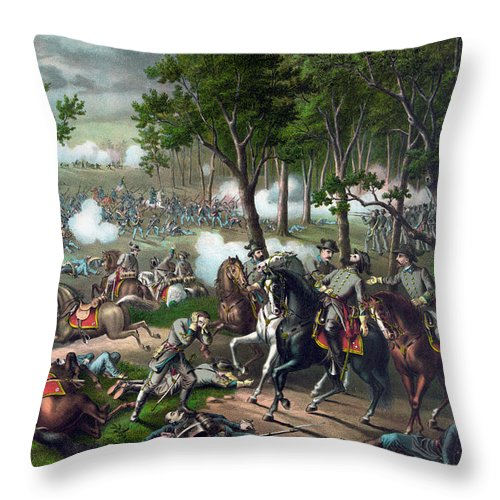Civil War Throw Pillow featuring the painting Battle Of Chancellorsville - Death Of Stonewall by War Is Hell Store