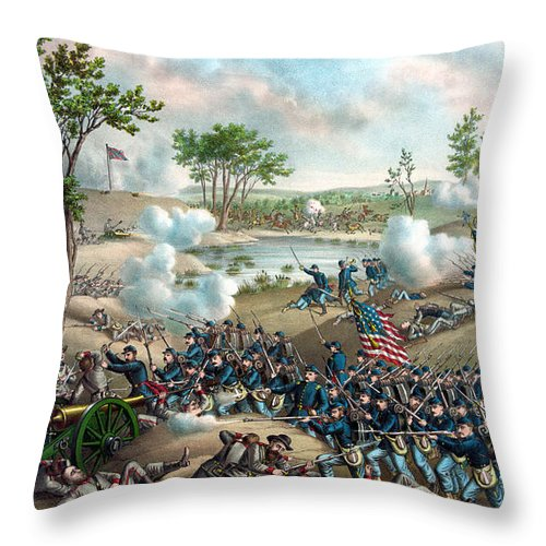 Civil War Throw Pillow featuring the painting Battle Of Cold Harbor by War Is Hell Store