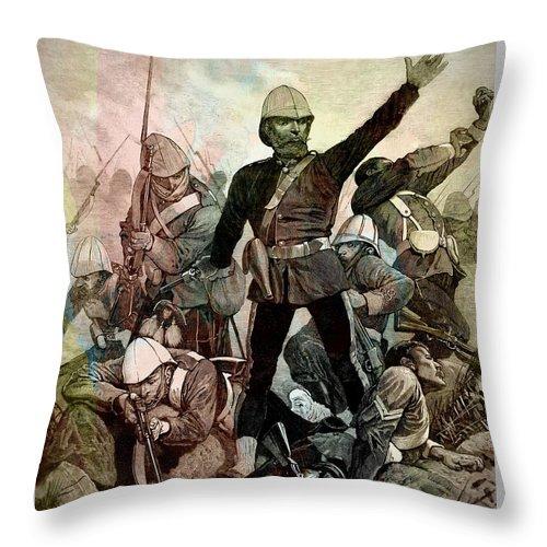 Boer War Throw Pillow featuring the drawing Battle Of Majuba Mountain by Ian Gledhill