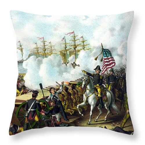 Andrew Jackson Throw Pillow featuring the painting Battle Of New Orleans by War Is Hell Store