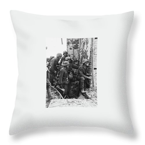 Battle Of Stalingrad Nazi Infantry Street Fighting 1942 Throw Pillow featuring the photograph Battle Of Stalingrad Nazi Infantry Street Fighting 1942 by David Lee Guss