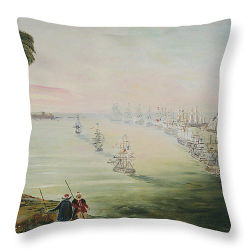 Sea Battle Throw Pillow featuring the painting Battle Of The Nile by Richard Barham
