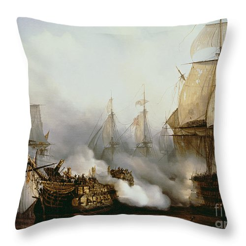 Battle Of Trafalgar By Louis Philippe Crepin Throw Pillow featuring the painting Battle of Trafalgar by Louis Philippe Crepin