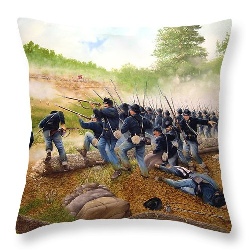 Civil War Throw Pillow featuring the painting Battle Of Utoy Creek by Marc Stewart