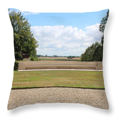Trees Sky Grass Farmland Stones Green Blue Clouds White Seat Stone France Somme History Throw Pillow featuring the photograph Historic View by JLowPhotos