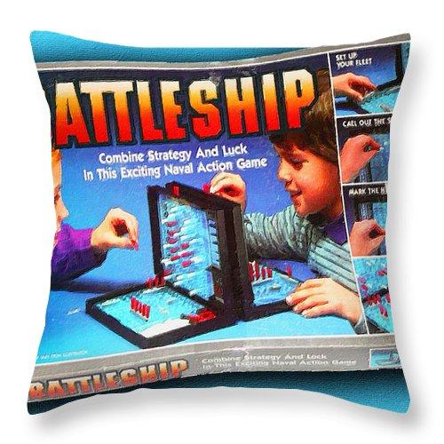 Battleship Throw Pillow featuring the painting Battleship Board Game Painting by Tony Rubino